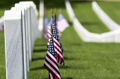 veterans cemetery memorial celebration with American Flag poster
