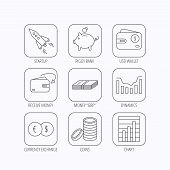 Piggy bank, cash money and startup rocket icons. Wallet, currency exchange and dollar usd linear signs. Chart, coins and dynamics icons. Flat linear icons in squares on white background. Vector poster