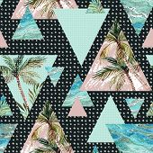Abstract summer geometric seamless pattern. Triangles with palm tree leaf and marble grunge textures. Abstract geometric background in retro vintage 80s or 90s. Hand painted summer beach illustration poster