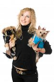 Portrait of happy young blonde with two dogs. Isolated poster