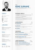 Vector original minimalist cv / resume template - creative version on folded paper with clipped photo profile poster