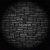 FASHION. Word collage on black background. Illustration with different association terms. poster