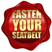 fasten your seatbelt, 3D rendering, a red wax seal poster