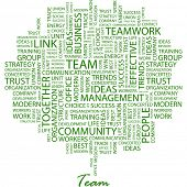 TEAM. Word collage on white background. Illustration with different association terms. poster