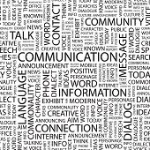 COMMUNICATION. Seamless vector pattern with word cloud. Illustration with different association terms. poster