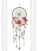 Vector hand drawn illustration of dreamcatcher. Traditional boho chic romantic decoration with aztec arrows feather and flowers. poster