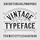 Vintage typeface. Retro distressed alphabet vector font. Hand drawn letters and numbers. Vintage vector font for labels, headlines, posters etc. poster