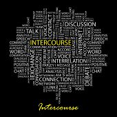 INTERCOURSE. Word collage on black background. Illustration with different association terms. poster