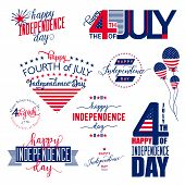Happy Independence Day - Fourth of July - July 4th Vector Set poster