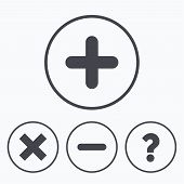 Plus and minus icons. Delete and question FAQ mark signs. Enlarge zoom symbol. Icons in circles. poster