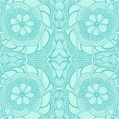 Seamless pattern in  Zen doodle or  Zen tangle  style light blue for wallpaper or for decorate package clothes  or different things poster