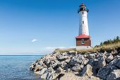 Crisp Point Lighthouse on the shores of Lake Superior in the Upper peninsula of Michigan poster
