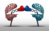 Battle of the brains and war of wit concept as two opposing open human brain symbols fighting as a debate or dispute metaphor and an icon for creative competition in a 3D illustration style. poster