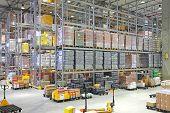 Big Distribution Center Logistics Warehouse Building Interior poster
