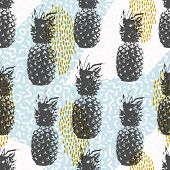 Retro 80s summer seamless pattern memphis style shapes background in soft colors with pineapple fruit elements. EPS10 vector. poster