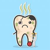 Unhealthy tooth. Cracked tooth with caries pulpit decay and bad smell. Ill tooth concept poster
