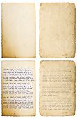 Old paper sheets with edges isolated on white. Handwritten letter. Latin text Lorem ipsum. Handwriting. Calligraphy. Manuscript. Script. Abstract texture background poster