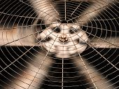 HVAC (Heating Ventilation and Air Conditioning) spining blades / Closeup of ventilator / Industrial ventilation fan background / Air Conditioner Ventilation Fan / Ventilation system poster