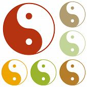 Ying yang symbol of harmony and balance. Colorful autumn set of icons. poster