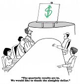 Business cartoon about worshiping the almighty dollar. poster