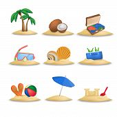 Beach icons set. Beach ball and beach slippers. Coconuts. Beach umbrella. Palm tree. Set of nine beach icons vector. Diving mask. Shells. Suitcase. Isolated on white background. Sandcastle. poster