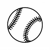Baseball ball sign. Black softball icon isolated on white background. Equipment for professional american sport. Symbol of play team game and competition recreation. Flat design Vector illustration poster