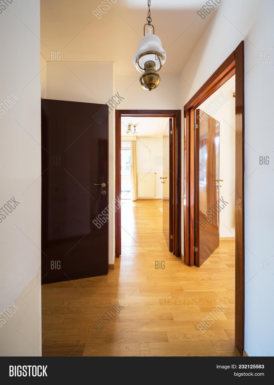 Anteroom With Three Doors, Two Rooms And A Window. Nobody Inside