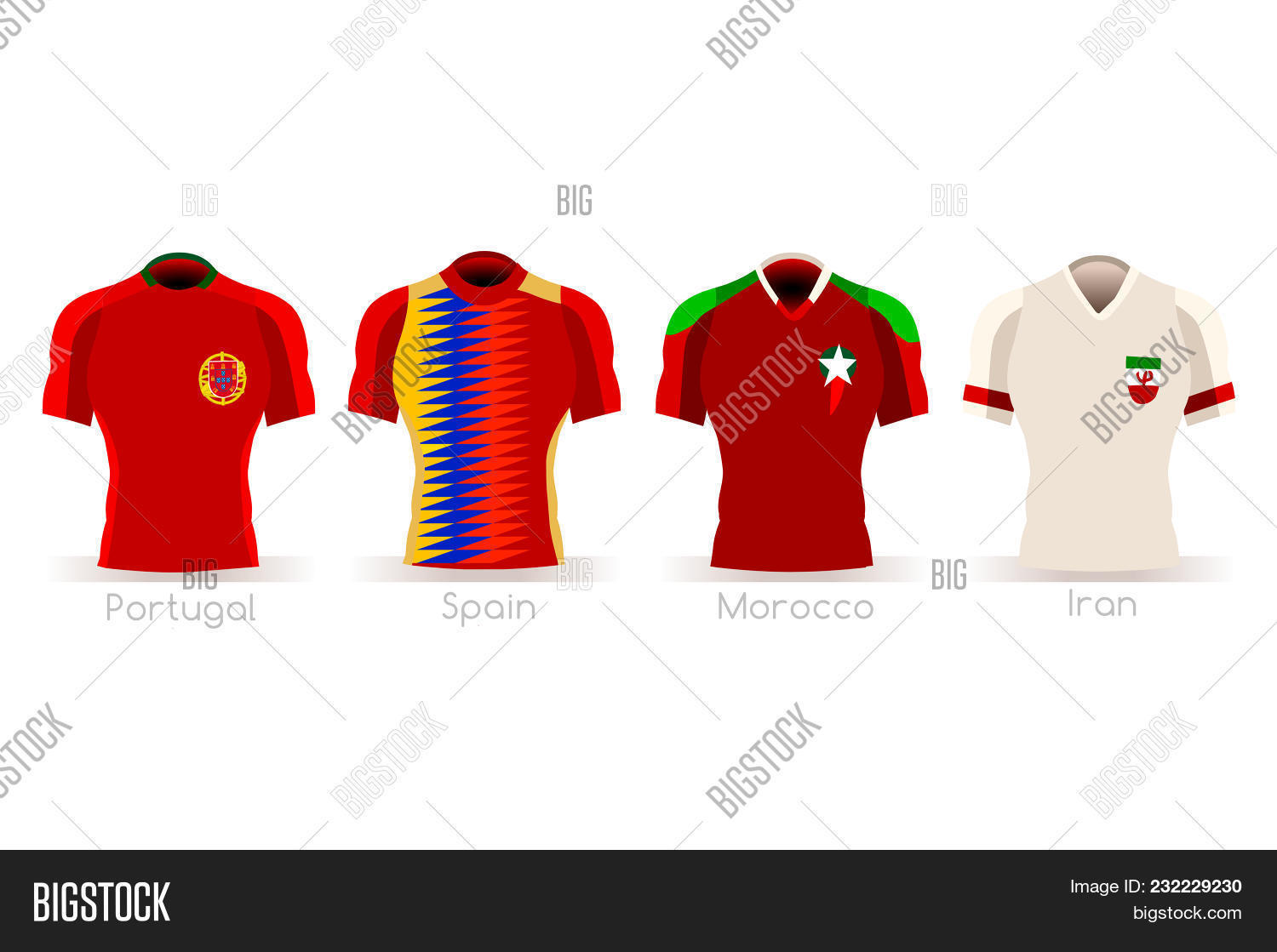 98c173cd1 Soccer world cup a group of players with team shirts flags and ball.  referee football vector illustration.