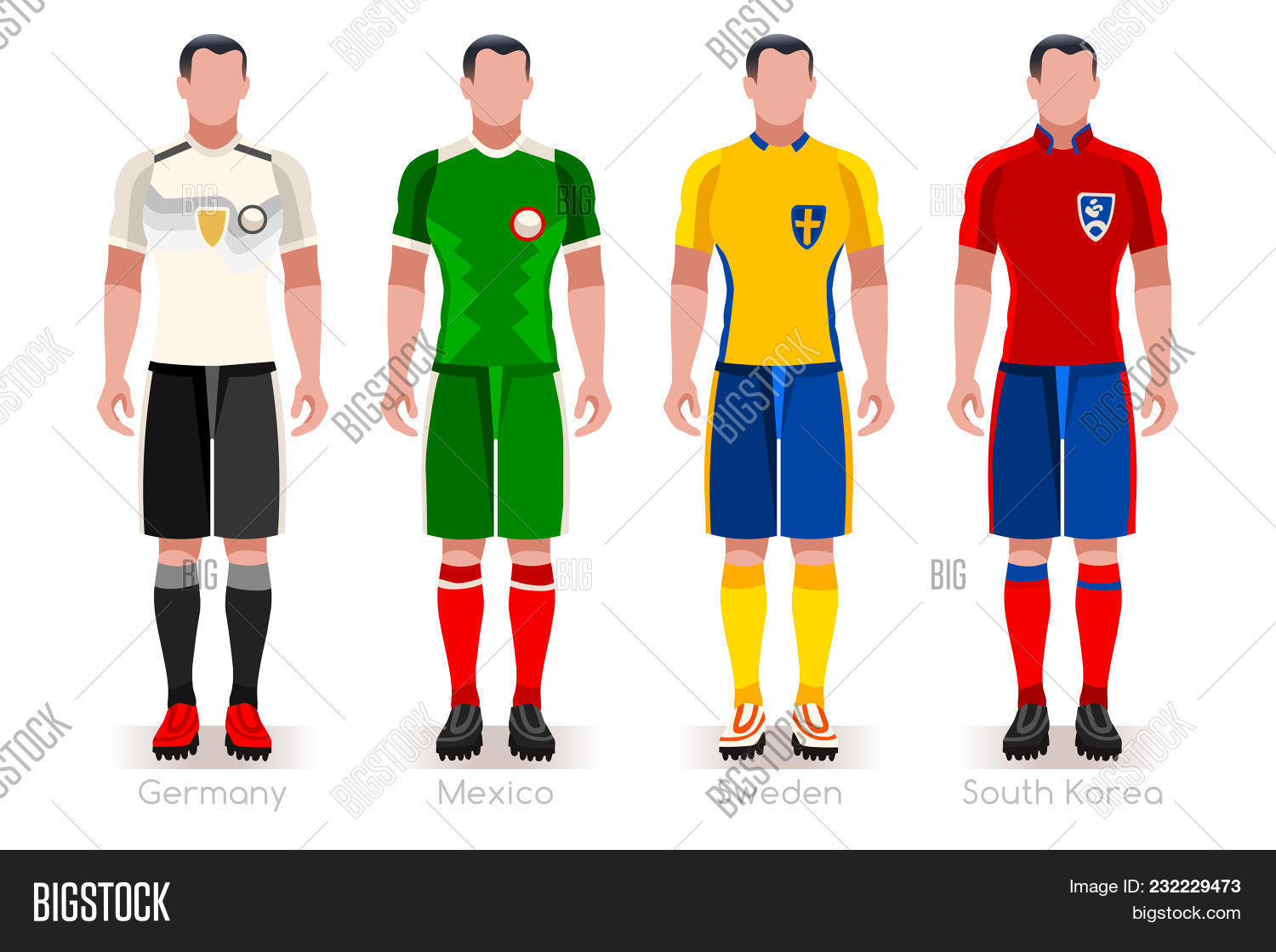 b45993832 Soccer world cup a group of players with team shirts flags and ball.  referee football vector illustration.