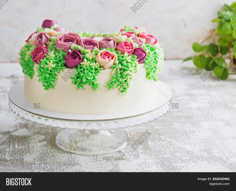 Birthday Cake Flowers Image Photo Free Trial Bigstock