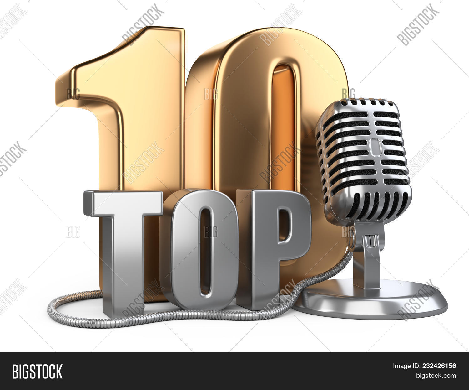 Big Golden Top 10, Ten Award Symbol With Wire Microphone. 3d Illustration  Icon Isolated