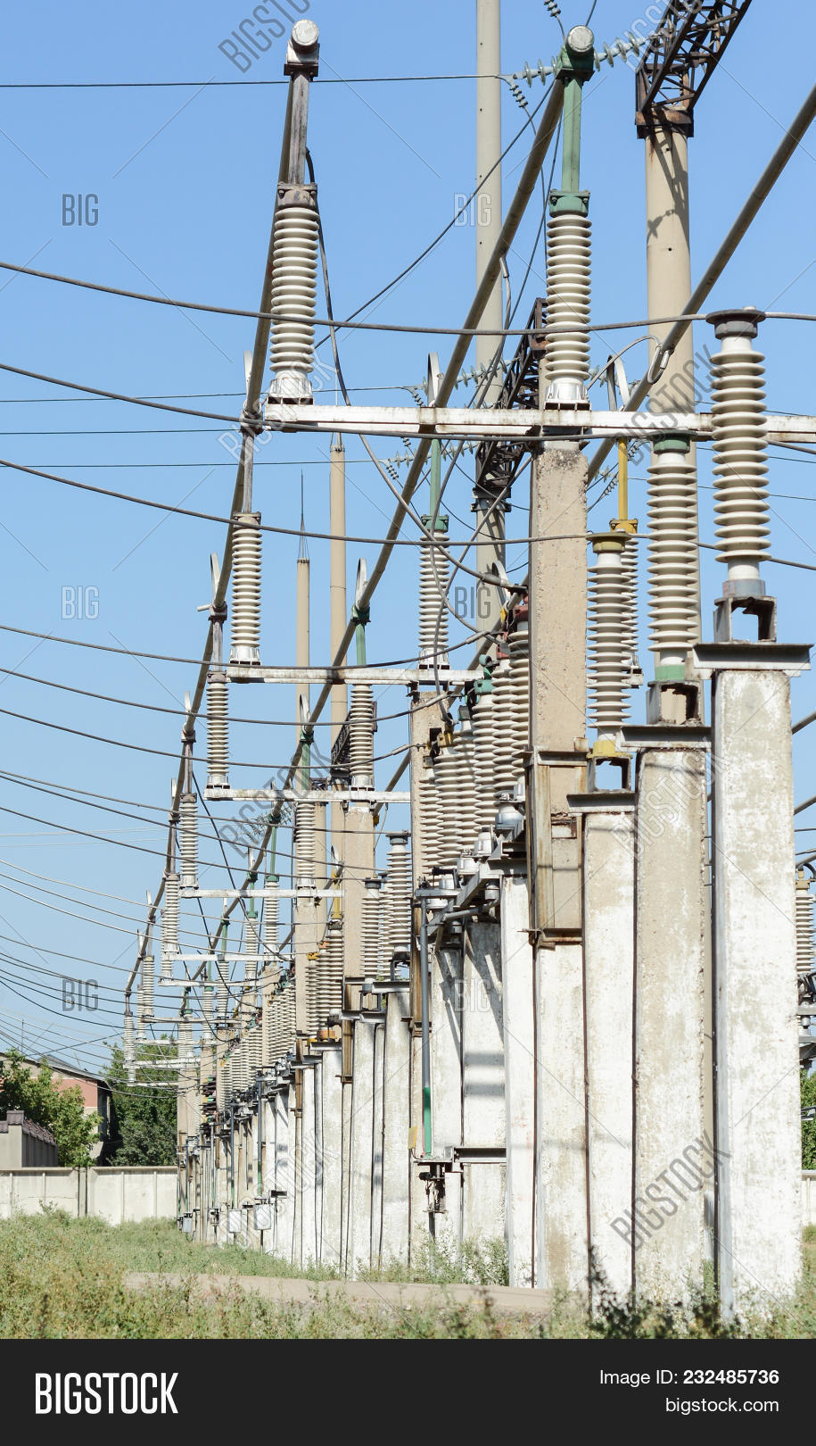 Electric Substation Image Photo Free Trial Bigstock High Voltage Wiring And Wires With Insulators