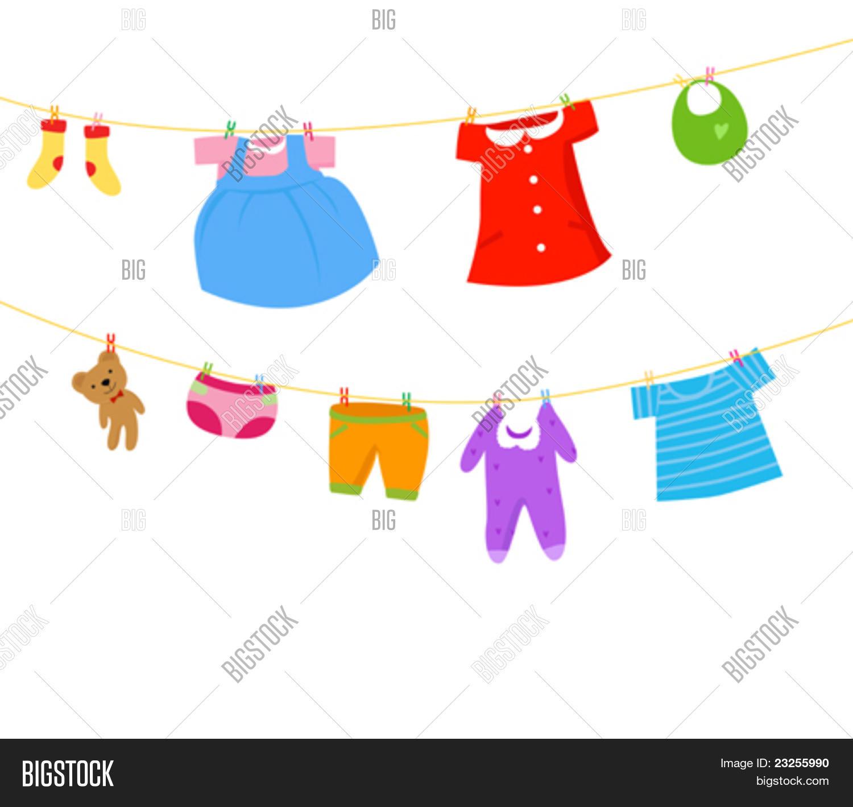 Baby Clothes Clothesline Vector &