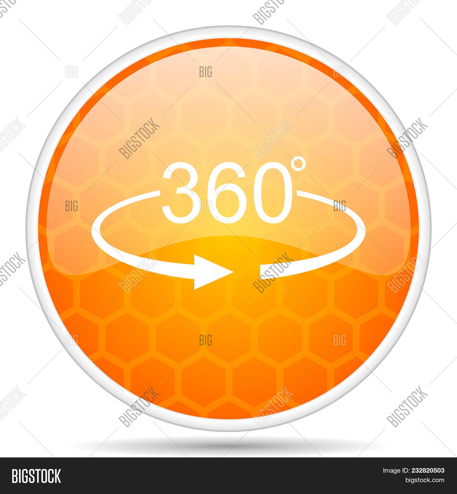 Panorama 360 web icon. Round orange glossy internet button for webdesign.