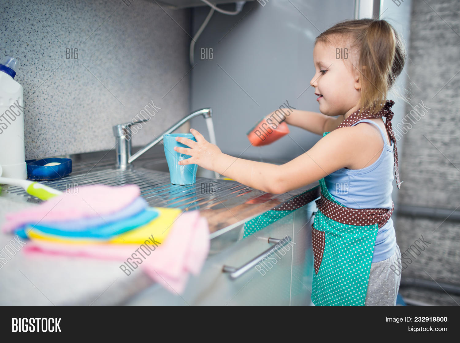 Little Girl Washes Image & Photo (Free Trial) | Bigstock