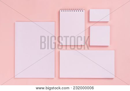 Corporate Identity Template, White Stationery Set With Blank Bussines Cards, Stickers, Notepad, Enve
