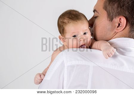 Dad And Baby Newborn On White Background