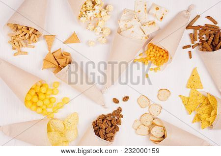 Fun Fresh Summer Fast Food Background -  Snacks  - Nacho, Croutons, Chips, Tortilla, Popcorn In Craf