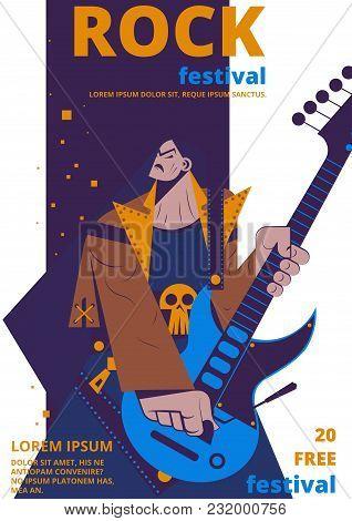 Rock Music Festival Poster Vector Illustration. Rocker Concert Placard Or Entry Ticket Flat Cartoon