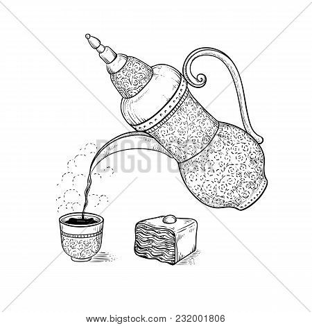 Vintage Coffeepot Poured Coffee Into Figured Cup With Flavored Vapor. Vector Sketch Drawing Hot Drin