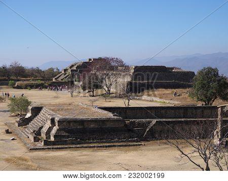 Archaeological Site Of Monte Alban Ruins Of Zapotec Pyramids On Platforms At Santa Cruz Xoxocotlan C