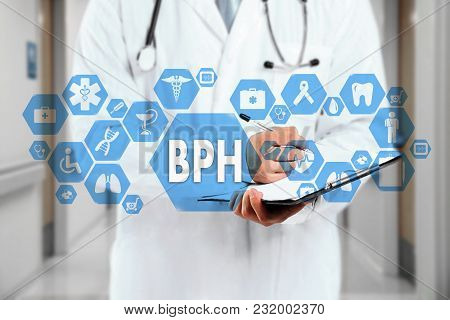 Medical Doctor  And Bph, Benign Prostatic Hyperplasia Words In Medical Network Connection On The Vir