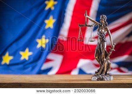 Lady Justice European Union And United Kingdom Flag.