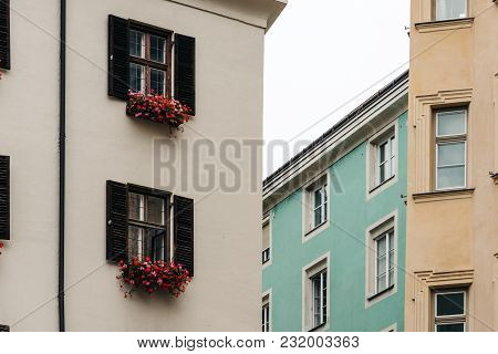 Low Angle View Of Old Buildings In Old Town Of Innsbruck.