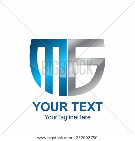 Initial Letter Ms , Mb Or Mg Logo Template Colored Grey Blue Shield Design For Business And Company