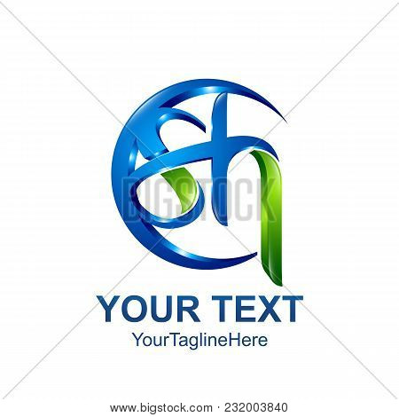 Initial Letter Sh Logo Template Colored Blue Green Circle Swoosh Design For Business And Company Ide