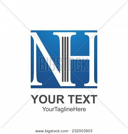Initial Letter Nh Logo Template Colored Blue Square Design For Business And Company Identity