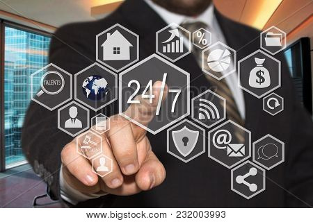 The Businessman Chooses  Button  24 Hours 7 Days Web Service Icon On The Touch Screen With A Futuris