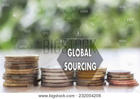 Global Sourcing  Against On The Touch Screen With A  Blur Financial Background .the Concept Global S