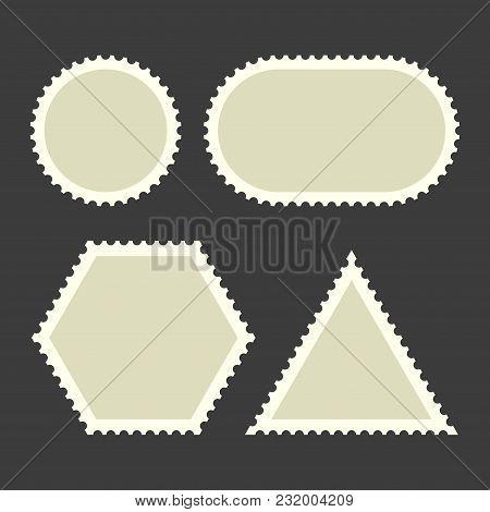 Blank Postage Stamps Set On Dark Background. Vector Illustration